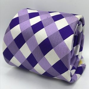 DONALD J. TRUMP Purple & White Plaid Luxury Tie
